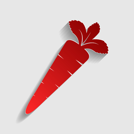 delectable: Carrot sign illustration. Red paper style icon with shadow on gray. Illustration