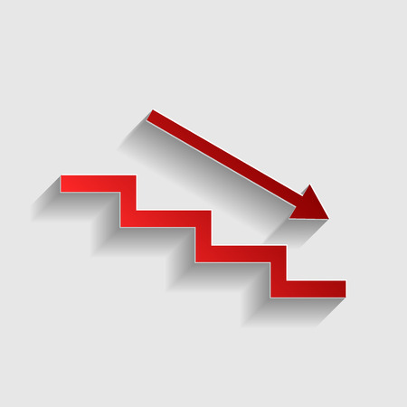 stair: Stair down with arrow. Red paper style icon with shadow on gray.