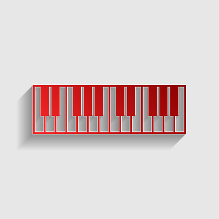 Piano Keyboard sign. Red paper style icon with shadow on gray. Illustration