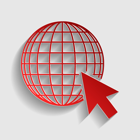 site map: Earth Globe with cursor. Red paper style icon with shadow on gray. Illustration