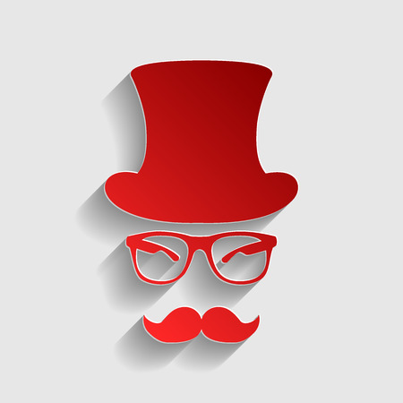 gent: Hipster accessories design. Red paper style icon with shadow on gray.
