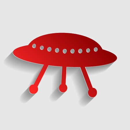 area 51: UFO simple sign. Red paper style icon with shadow on gray.