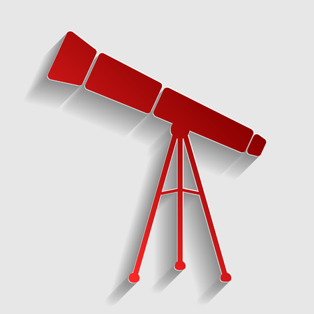 ocular: Telescope simple sign. Red paper style icon with shadow on gray. Illustration