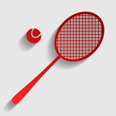 tennis racquet: Tennis racquet sign. Red paper style icon with shadow on gray.
