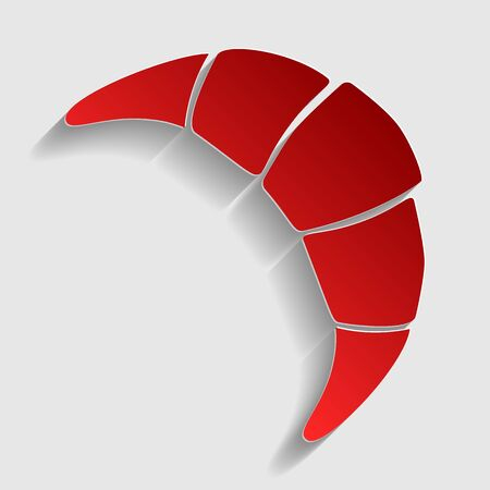 www tasty: Croissant simple sign. Red paper style icon with shadow on gray. Illustration