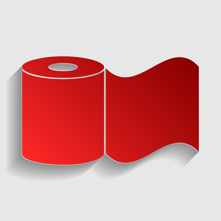 fecal: Toilet Paper sign. Red paper style icon with shadow on gray. Illustration