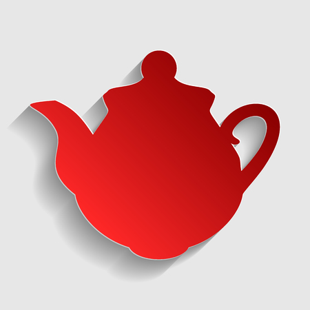 sign maker: Tea maker Kitchen sign. Red paper style icon with shadow on gray.