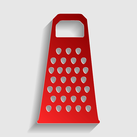 grater: Cheese grater sign. Red paper style icon with shadow on gray.