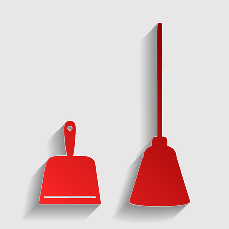 dustpan: Dustpan vector sign. Scoop for cleaning garbage housework dustpan equipment. Red paper style icon with shadow on gray. Illustration