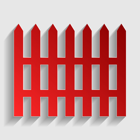 dissociation: Fence simple sign. Red paper style icon with shadow on gray.