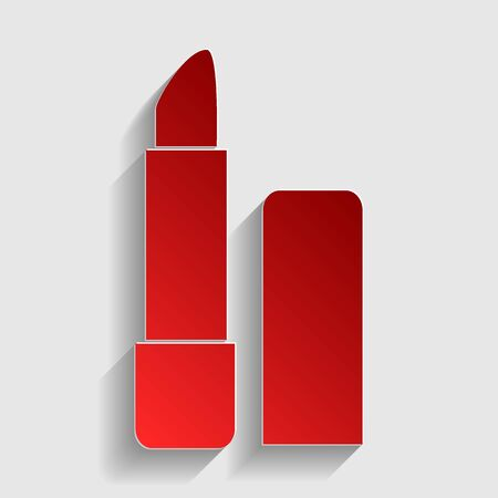 pomade: Pomade simple sign. Red paper style icon with shadow on gray. Illustration