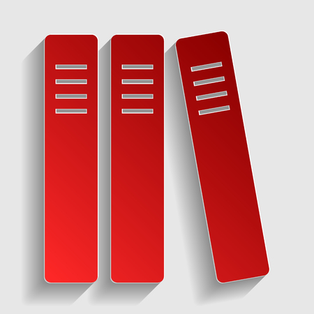 classify: Row of binders, office folders icon. Red paper style icon with shadow on gray.