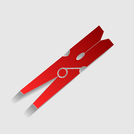 clothespeg: Clothes peg sign. Red paper style icon with shadow on gray. Illustration