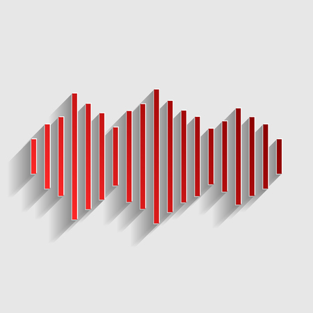 vibrations: Sound waves icon. Red paper style icon with shadow on gray.