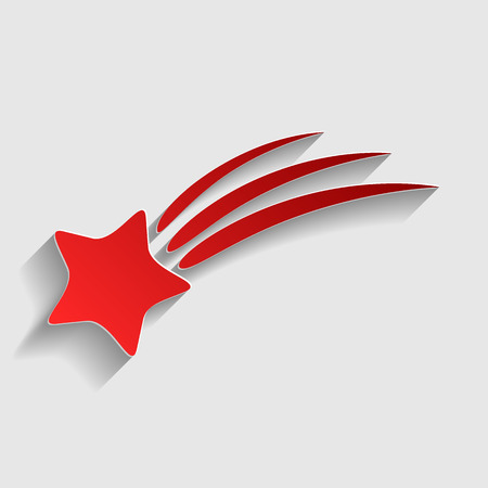 starfall: Shooting star sign. Red paper style icon with shadow on gray. Illustration