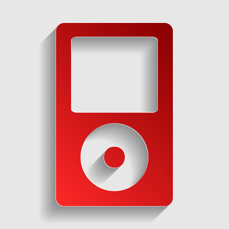 mp: Portable music device. Red paper style icon with shadow on gray.