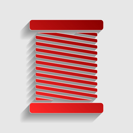 gray thread: Thread sign illustration. Red paper style icon with shadow on gray. Illustration