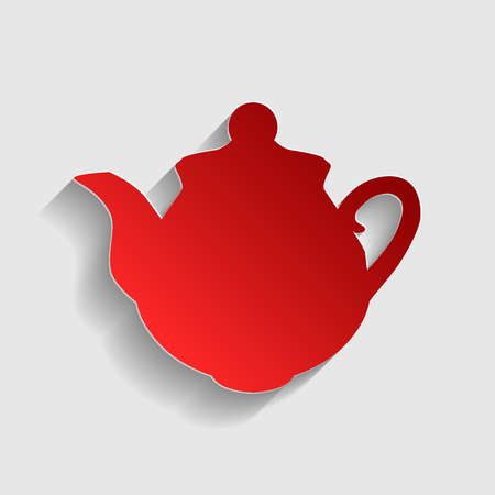 sign maker: Tea maker sign. Red paper style icon with shadow on gray. Illustration