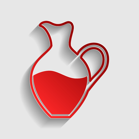 amphora: Amphora sign. Red paper style icon with shadow on gray.
