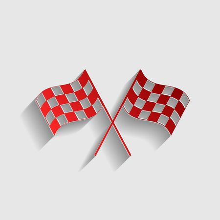 crossed checkered flags: Crossed checkered flags waving in the wind conceptual of motor sport. Red paper style icon with shadow on gray. Illustration