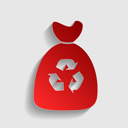 Trash bag icon. Red paper style icon with shadow on gray.
