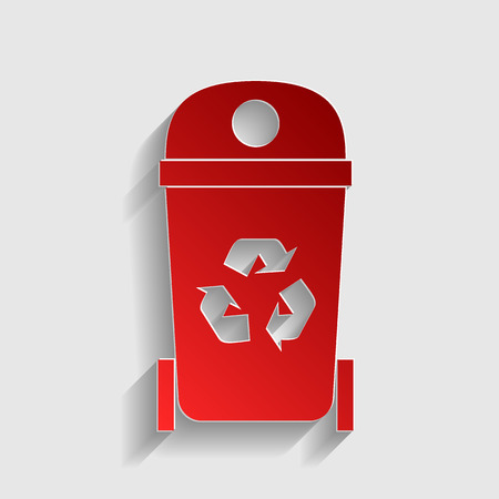 trashcan: Trashcan sign illustration. Red paper style icon with shadow on gray.