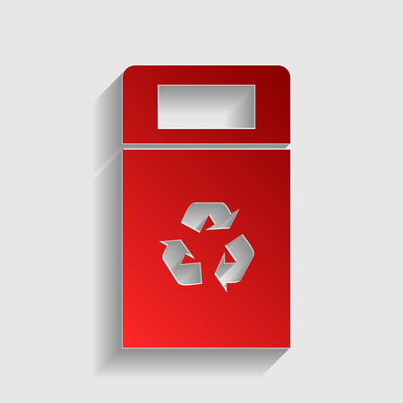 trashing: Trashcan sign illustration. Red paper style icon with shadow on gray.