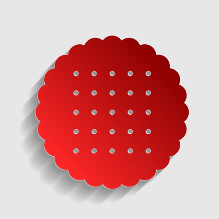 scone: Biscuit sign illustration. Red paper style icon with shadow on gray.