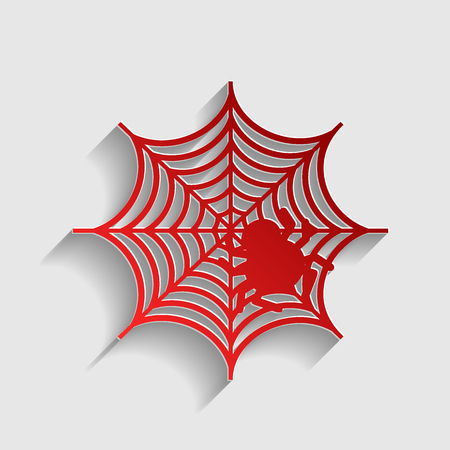 spidery: Spider on web illustration. Red paper style icon with shadow on gray.