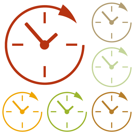 24 hours: Service and support for customers around the clock. 24 hours. Colorful autumn set of icons. Illustration