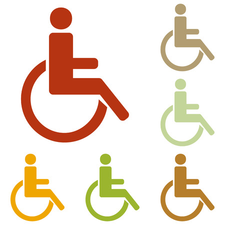 one man only: Disabled sign illustration. Colorful autumn set of icons. Illustration