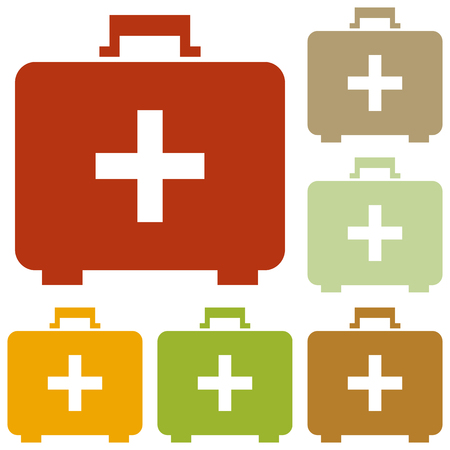 healtcare: Medical First aid box sign. Colorful autumn set of icons.