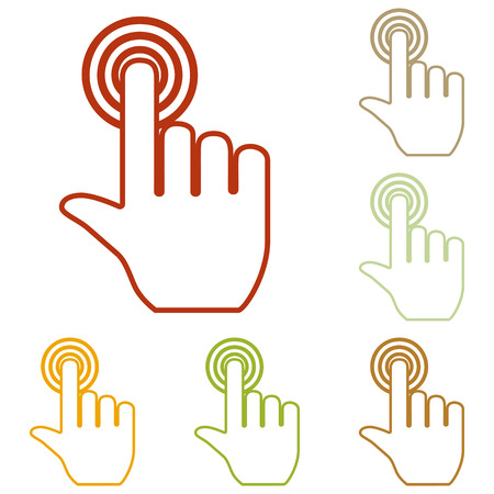 depress: Hand click on button. Colorful autumn set of icons.