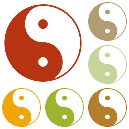 Ying yang symbol of harmony and balance. Colorful autumn set of icons.