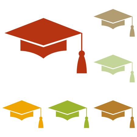 モルタル ボードまたは卒業の帽子、教育のシンボル。カラフルな秋は、アイコンのセット。