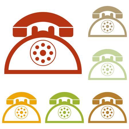 telephone icons: Retro telephone sign. Colorful autumn set of icons.