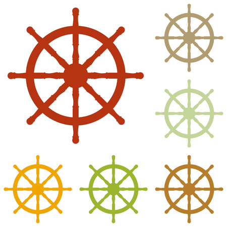 mariner: Ship wheel sign. Colorful autumn set of icons.