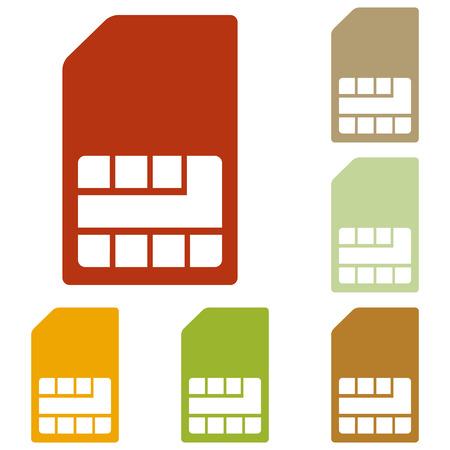 prepaid card: Sim card sign. Colorful autumn set of icons.