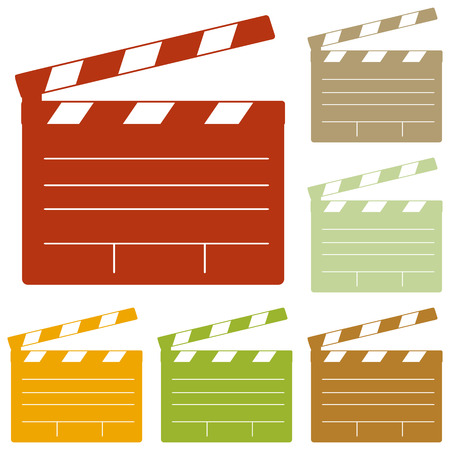 flick: Film clap board cinema sign. Colorful autumn set of icons.