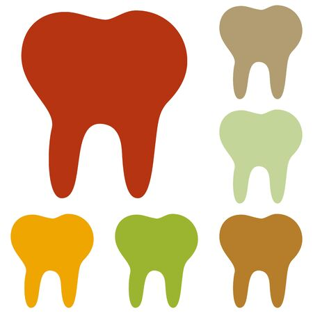 toothcare: Tooth sign illustration. Colorful autumn set of icons. Illustration