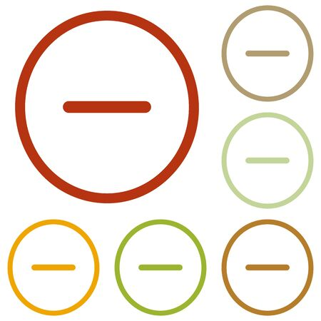 minus sign: Negative symbol illustration. Minus sign. Colorful autumn set of icons.