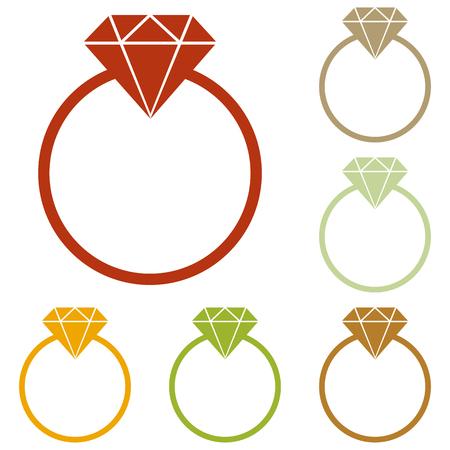 spoil: Diamond sign illustration. Colorful autumn set of icons.