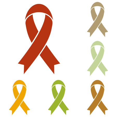 substance abuse awareness: Black awareness ribbon sign. Colorful autumn set of icons.