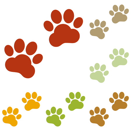 huellas de animales: Pistas animales firman. conjunto de iconos de oto�o colorido.