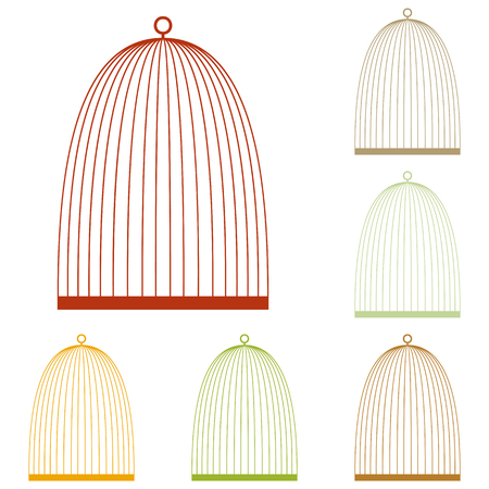 caged: Bird cage sign. Colorful autumn set of icons.