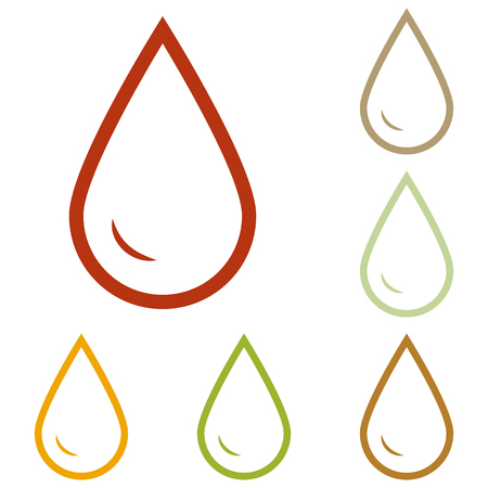 refuel: Drop of water sign. Colorful autumn set of icons.