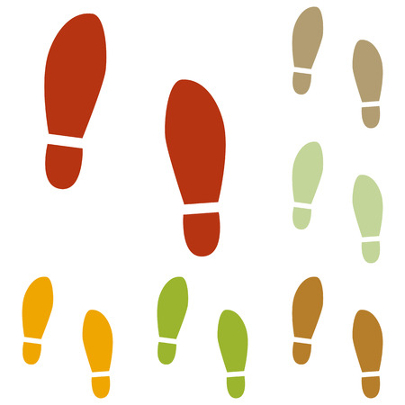 and soles: Imprint soles shoes sign. Colorful autumn set of icons.