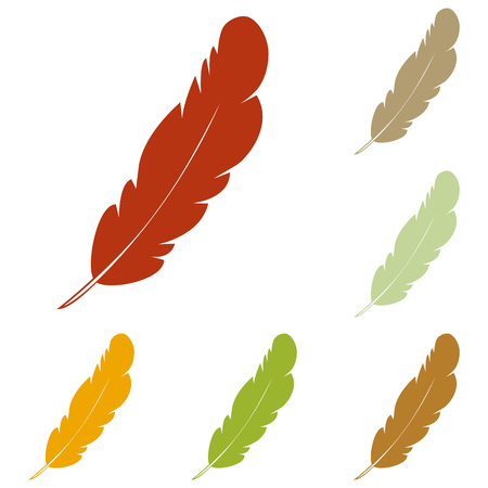 a poet: Feather sign illustration. Colorful autumn set of icons.