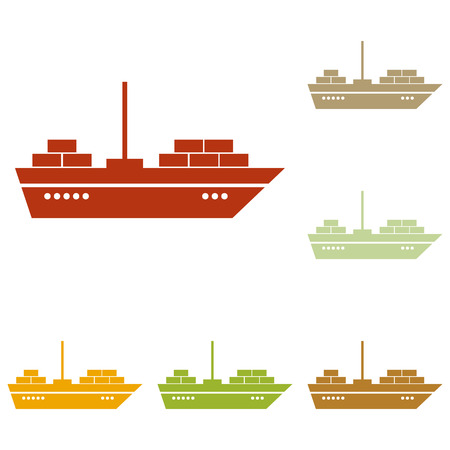 inflate boat: Ship sign illustration. Colorful autumn set of icons.