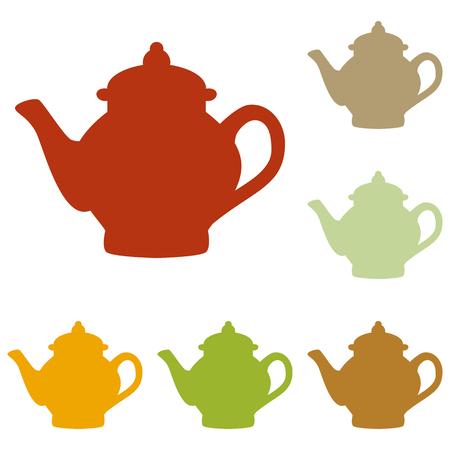 sign maker: Tea maker sign. Colorful autumn set of icons.